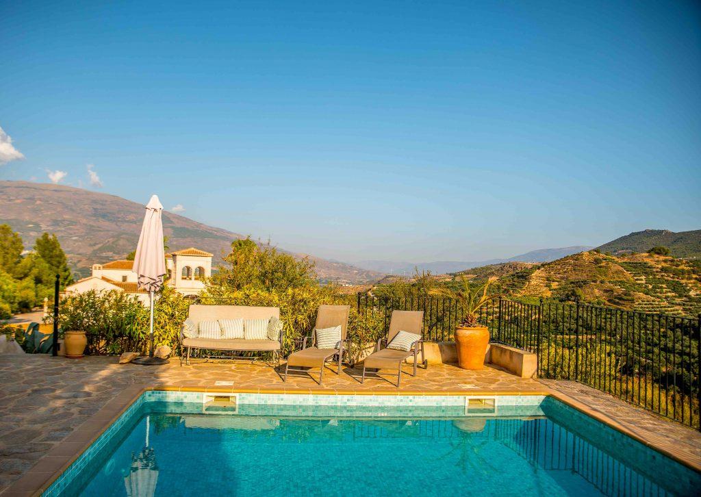 Swimming pool of La Esperanza Granada in the Lecrin Valley of Spain